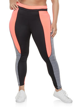 34d7b09d0b3c0 Plus Size Marled Color Block Active Leggings - 1951038341770