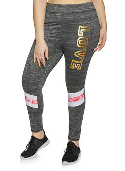 Plus Size Foil Love Leggings - 1951038341772