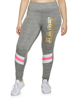 Plus Size Foil Love Leggings - 1951038341772