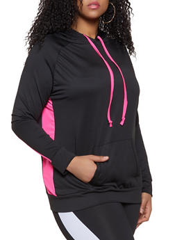 Plus Size Contrast Drawstring Active Hooded Top - 1951038341773