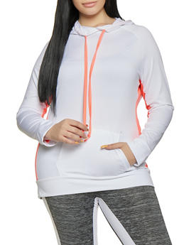 f7aca423d75 Plus Size Contrast Drawstring Active Hooded Top - 1951038341773