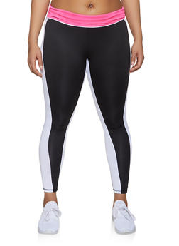 Plus Size Color Block Active Leggings | 1951038341774 - 1951038341774
