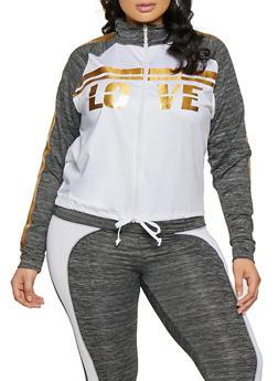 Plus Size Contrast Trim Active Sweatshirt - 1951038341775
