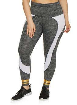 Plus Size Stripe Detail Active Leggings - 1951038341776