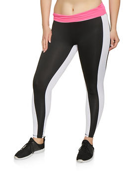 Plus Size Stripe Detail Active Leggings - 1951038341776