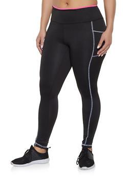 Plus Size Contrast Stitch Activewear Leggings - 1951038341780