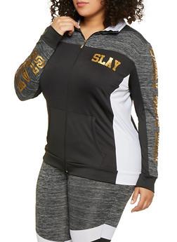a4198d46da7 Plus Size Slay Color Block Zip Front Activewear Top - 1951038341781