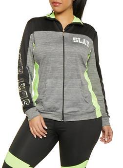 Plus Size Slay Color Block Zip Front Activewear Top - 1951038341781
