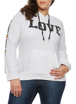 Plus Size Love Graphic Pullover Sweatshirt - 1951038342724