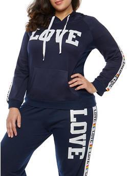 Plus Size Love Graphic Pullover Sweatshirt - 1951038342724