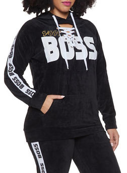 92168c28359 Plus Size Boss Graphic Lace Up Velour Sweatshirt - 1951038342781