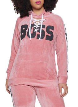 Plus Size Boss Graphic Lace Up Velour Sweatshirt - 1951038342781