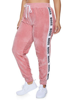 Plus Size Boss Graphic Trim Velour Sweatpants - 1951038342785