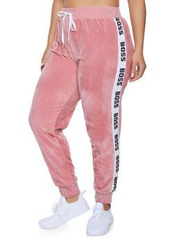 Plus Size Boss Graphic Trim Velour Sweatpants - 1951038342785