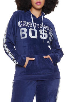Plus Size Certified Boss Velour Sweatshirt - 1951038342786