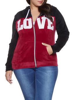 Plus Size Love Graphic Velour Sweatshirt - 1951038342794
