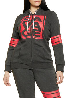 Plus Size Savage Graphic Zip Front Sweatshirt - 1951038343344