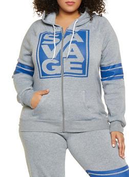Plus Size Savage Graphic Zip Front Sweatshirt - 1951038343344