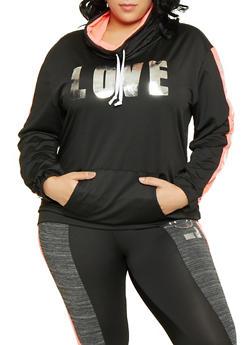 Plus Size Black Cowl Neck Top
