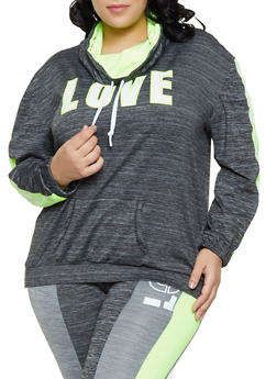 Plus Size Love Graphic Active Top - 1951038343608