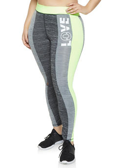 Plus Size Love Graphic Active Leggings - 1951038343609