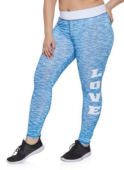 Plus Size Love Graphic Activewear Leggings - 1951038343615