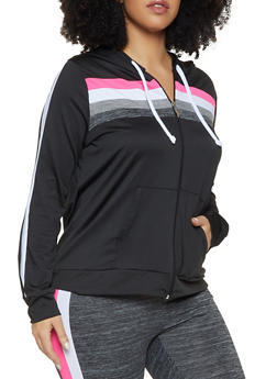 Plus Size Color Block Hooded Active Top - 1951038343616