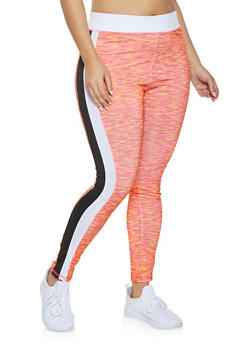 Plus Size Marled Active Leggings - 1951038343617