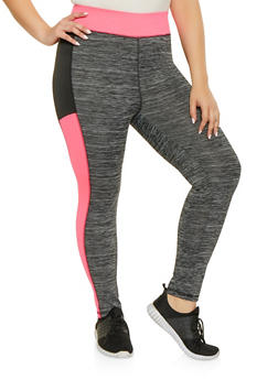 Plus Size Color Block Activewear Leggings - 1951038343620