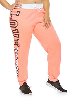 Plus Size Love Graphic Sweatpants - 1951038343704