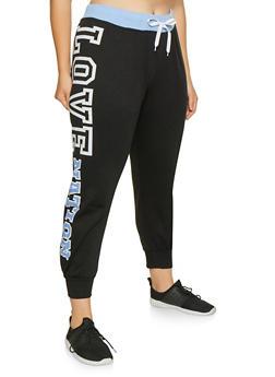 Plus Size Love Graphic Sweatpants - 1951038343704