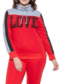 Plus Size Love Graphic Sweatshirt - 1951038343708