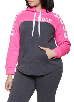 Plus Size Graphic Color Block Sweatshirt - 1951038343711