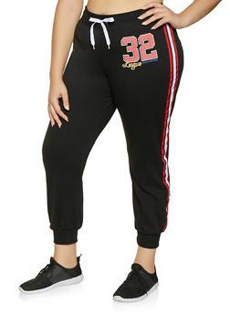 Plus Size Striped Tape Detail Sweatpants - 1951038343716