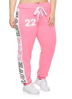 Plus Size Lace Up Love Graphic Sweatpants - 1951038343719