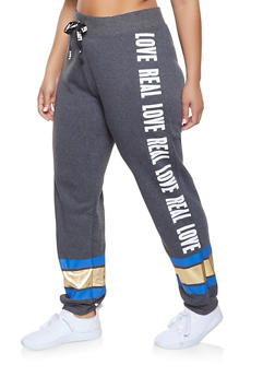 Plus Size Foil Stripe Graphic Sweatpants - 1951038343721