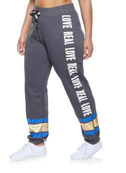 381de38db55 Plus Size Foil Stripe Graphic Sweatpants - 1951038343721