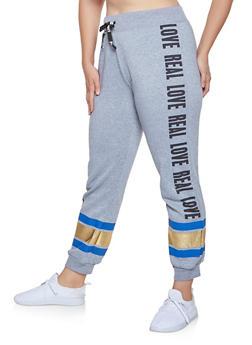 Plus Size Foil Stripe Graphic Sweatpants - 1951038343721