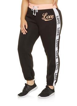 Plus Size Love Graphic Trim Sweatpants - 1951038343727