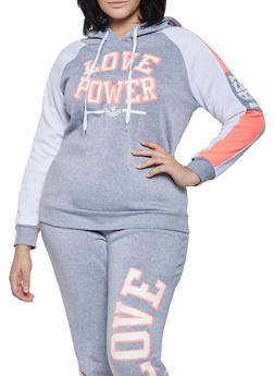 Plus Size Love Power Graphic Sweatshirt - 1951038343731