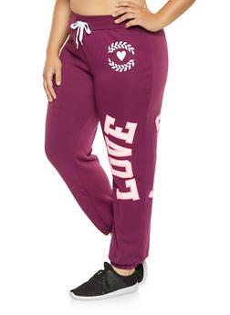 Plus Size Love Power Graphic Sweatpants - 1951038343732