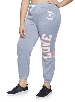 Plus Size Love Power Graphic Sweatpants - 1951038343732