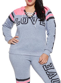 Plus Size Love Graphic Lace Up Sweatshirt - 1951038343737