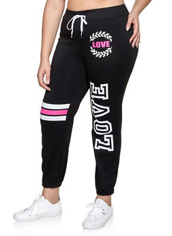Plus Size Love Graphic Sweatpants - 1951038343738