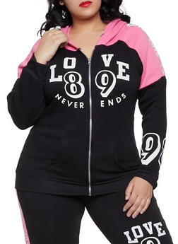 Plus Size Love Never Ends Hooded Sweatshirt - 1951038343746