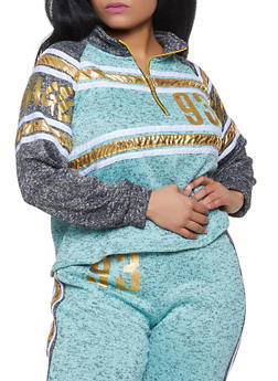 Plus Size Savage Knit Half Zip Sweatshirt - 1951038343842
