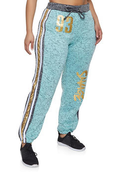Plus Size Savage Graphic Knit Sweatpants - 1951038343843