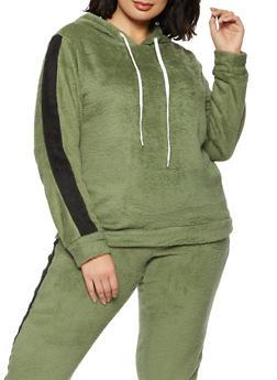Plus Size Plush Stripe Detail Sweatshirt - 1951038345750