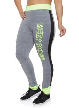 f35aad5708a Plus Size Keep Going Color Block Activewear Leggings - 1951038346171