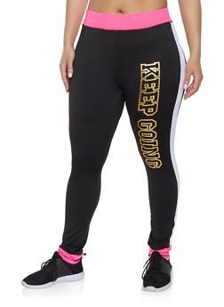 Plus Size Keep Going Color Block Activewear Leggings - 1951038346171